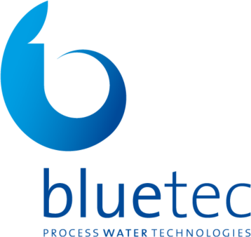 logo of the company blue tec; a blue swirl with the name underneath